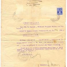 Z64 DOCUMENT VECHI-PRIMARIA SULINA CERTIFICA MARIA PARTENI-MIHAIL CALAFATOS 1942