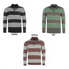 Bluza Pulover Barbati Pierre Cardin Stripe Quarter Zip - marimea M XL XXL, Marime: M, Culoare: Gri, Negru, Visiniu