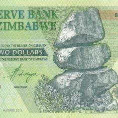 Bancnota Zimbabwe 2 Dolari 2016 - PNew UNC ( Bond Note ) - bancnota africa
