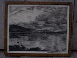 Cumpara ieftin TABLOU ÎN GRAFIT / CĂRBUNE - RÂUL SJOA DE SEN KVEDO - ÎNRĂMAT CU RAMĂ ȘI STICLĂ!, Natura, Carbune, Altul