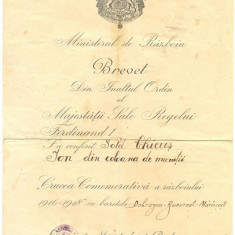 Z74 DOCUMENTVECHI-BREVET,, CRUCEA COMEMORATIVA A RAZBOIULUI 1916-1918-CHICUS ION - Hartie cu Antet