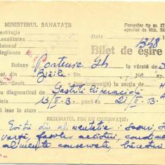 Z54 DOCUMENT VECHI-BILET ESIRE SPITAL-MINISTERUL SANATATII -1953 -PARTENIE GH. - Hartie cu Antet