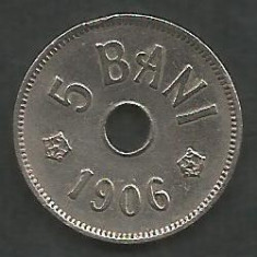 ROMANIA 5 BANI 1906, litera J - Monetaria Hamburg [19] livrare in cartonas - Moneda Romania, Cupru-Nichel