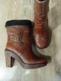 Cizme 3/4 dama TIMBERLAND Boot Company originale handmade piele+blana 37/38/39, Coniac, Piele naturala