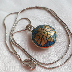 Medalion AZTEC cu email in 2 culori CAP INDIAN si FLUTURE 2 fete pe Lant argint