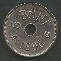 ROMANIA 5 BANI 1906, litera J - Monetaria Hamburg [5] XF+ in cartonas - Moneda Romania, Cupru-Nichel