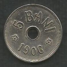 ROMANIA 5 BANI 1906, litera J - Monetaria Hamburg [10] XF, in cartonas - Moneda Romania, Cupru-Nichel