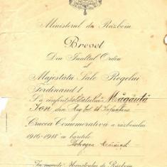 Z75DOCUMENTVECHI-BREVET,, CRUCEA COMEMORATIVA A RAZBOIULUI 1916-1918-MAGARITA ION - Hartie cu Antet