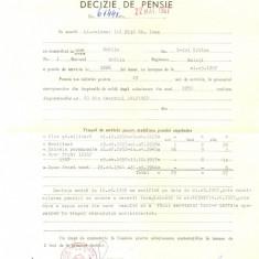 Z87 DOCUMENT VECHI -DECIZIE DE PENSIE ANUL 1967-MINISTERUL FORTELOR ARMATE - Hartie cu Antet