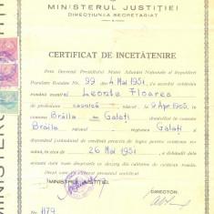 Z91 DOCUMENT VECHI -CERTIFICAT DE INCETATENIRE - LEONTE FLOAREA- BRAILA -1951 - Hartie cu Antet