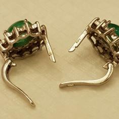 Cercei aur diamante si smarald - Cercei cu diamante