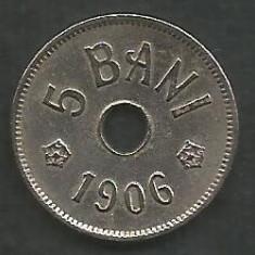 ROMANIA 5 BANI 1906, litera J - Monetaria Hamburg [3] XF+ in cartonas - Moneda Romania, Cupru-Nichel