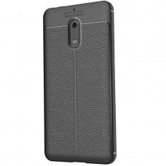 Husa silicon Leather pentru Nokia 6, Negru