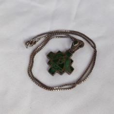 Medalion argint AZTEC cu micromozaic MALACHIT superb VECHI pe Lant argint