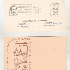 bnk fil - Lot plicuri Expofil Bacau 1982 - Centenar Vasile Parvan