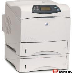 Imprimanta laser HP Laserjet 4250dtn Q5403A wo cartridge carcasa ingalbenita zgomot la cuptor - Imprimanta laser alb negru
