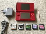 Nintendo DS LITE ROSU+5 jocuri educative fara violenta+accesorii,in stare buna!