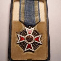 Ordinul Coroana Romaniei Cavaler Primul Model la Cutie ARGINT Piesa de Colectie