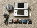 Nintendo DS LITE alb+5 jocuri educative fara violenta+accesorii,stare FT BUNA !