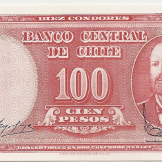 Chile 100 Pesos Nd UNC - bancnota america, An: 1968