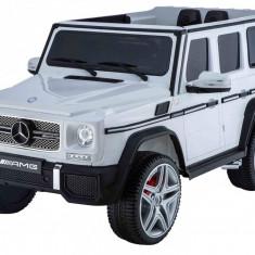 Masinuta electrica Mercedes Benz AMG G65 alb, anvelope din cauciuc si portiere - Masinuta electrica copii