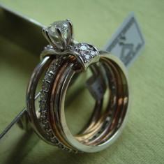 Superb Inel Aur Alb, Galben si Roz 14k cu Diamante - 1, 50 carate (Certificat) - Inel diamant, 46 - 56