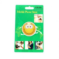 Suport Telefon iPhone Samsung Nokia HTC Stand Finger Grip Fata Zambitoare Galben - Suport auto GPS