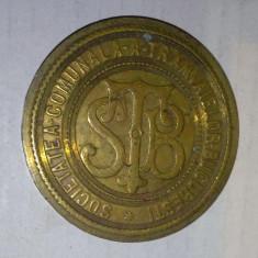 STB SOCIETATEA COMUNALA A TRAMVAIELOR din Bucuresti medalie veche rara Romania - Medalii Romania