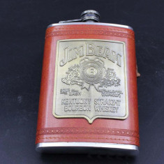 Sticla Jim Beam inox imbracata in piele de buzunar flask butelca 9 OZ 270ml