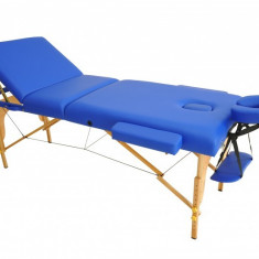 Masa de masaj portabila cu 3 sectiuni, Pat masaj, Albastru Lemn - Masa masaj