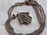 Medalion argint MANA MAICII DOMNULUI HAMSA finut VECHI splendid pe Lant argint