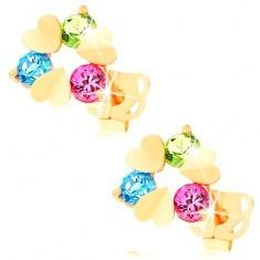 Cercei din aur 585 - trei inimi plate şi zirconii rotunde colorate - Cercei aur