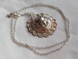 Rar Medalion argint MAYAS splendid VECHI superb VINTAGE de Efect pe Lant argint