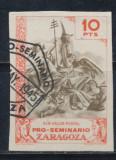 Spania 1945 timbru local Zaragoza - ingeri - stampilat 10 pesetas