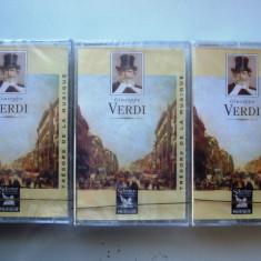 GIUSEPE VERDI    ,  3 CASETE AUDIO , SIGILATE !