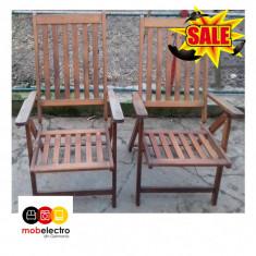 Mobila 2 scaune fotoli lemn masiv gradina terasa rabatabile - Set gradina