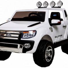 Masinuta electrica Ford Ranger alb, anvelope din cauciuc si portiere - Masinuta electrica copii