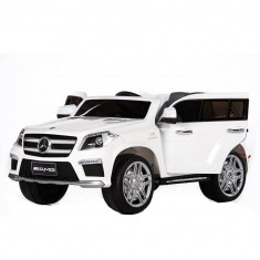 Masinuta electrica Mercedes GL alb cu anvelope din cauciuc, portiere