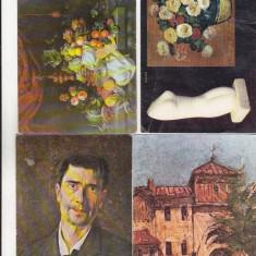 Bnk cp - Romania - Lot 4 carti postale pictura - uzate - Carte postala tematica, Necirculata, Printata