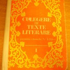 RWX 13 - CULEGERE DE TEXTE LITERARE - CLS V - VIII - V TEODORESCU - EDITIA 1983 - Culegere Romana