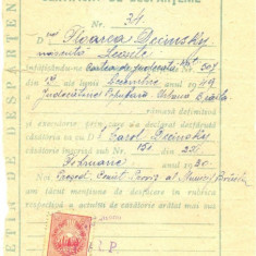 Z125 DOCUMENT VECHI- CERTIFICAT DE DESPARTENIE , FLOAREA DECINSKY, SOTUL CAROL