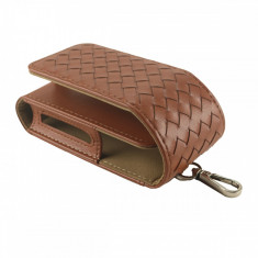 Husa Flip IQOS, din piele ecologica, orange, protectie 2in1 + slot Heets - Accesoriu tigara electronica