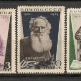 U.R.S.S.1935 25 ani moarte L.Tolstoi-scriitor CU.31, Nestampilat