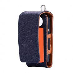 Husa Flip IQOS, denim albastru, protectie 2in1 + husa Heets - Accesoriu tigara electronica