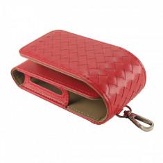 Husa Flip IQOS, din piele ecologica, rosu, protectie 2in1 + slot Heets - Accesoriu tigara electronica
