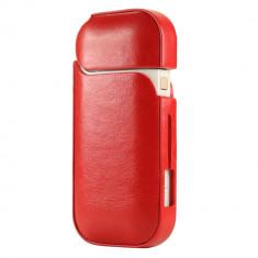 Husa IQOS Full-Body din piele, rosu, protectie totala si acces la butoane si LED - Accesoriu tigara electronica