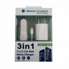 Kit Incarcator Auto 3in1 Fast Charge, conector Lightning Apple IPhone - Car kit Anymode