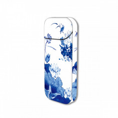 Sticker IQOS personalizare, autocolant removable iSMOQ pasari si flori albastre - Accesoriu tigara electronica