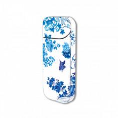 Sticker IQOS personalizare, autocolant removable iSMOQ colibri flori albastre - Accesoriu tigara electronica