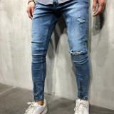 Blugi barbati conici bleu cu fermoar rupti elastici slimfit skinnyfit, Marime: 29, 30, 31, 32, 33, 34, 36, Lungi, Prespalat, Normal